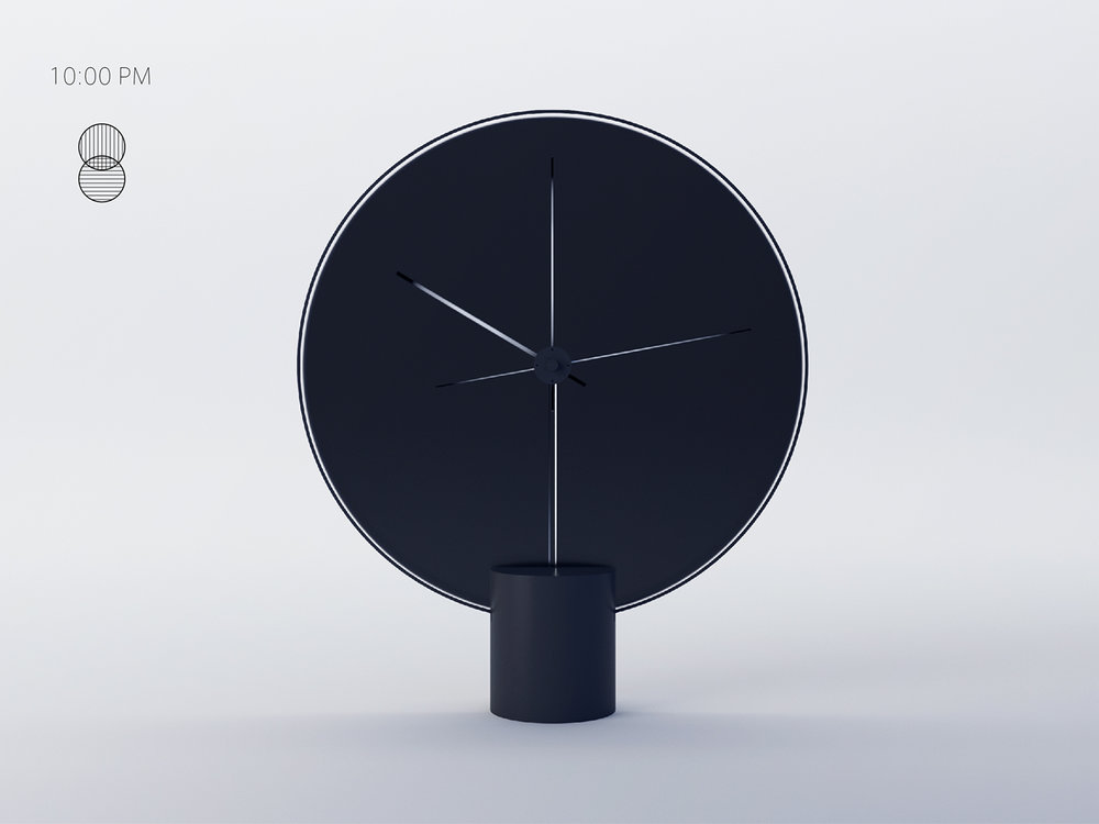 Clock design by Yicong Lu at 10 pm turning completely dark