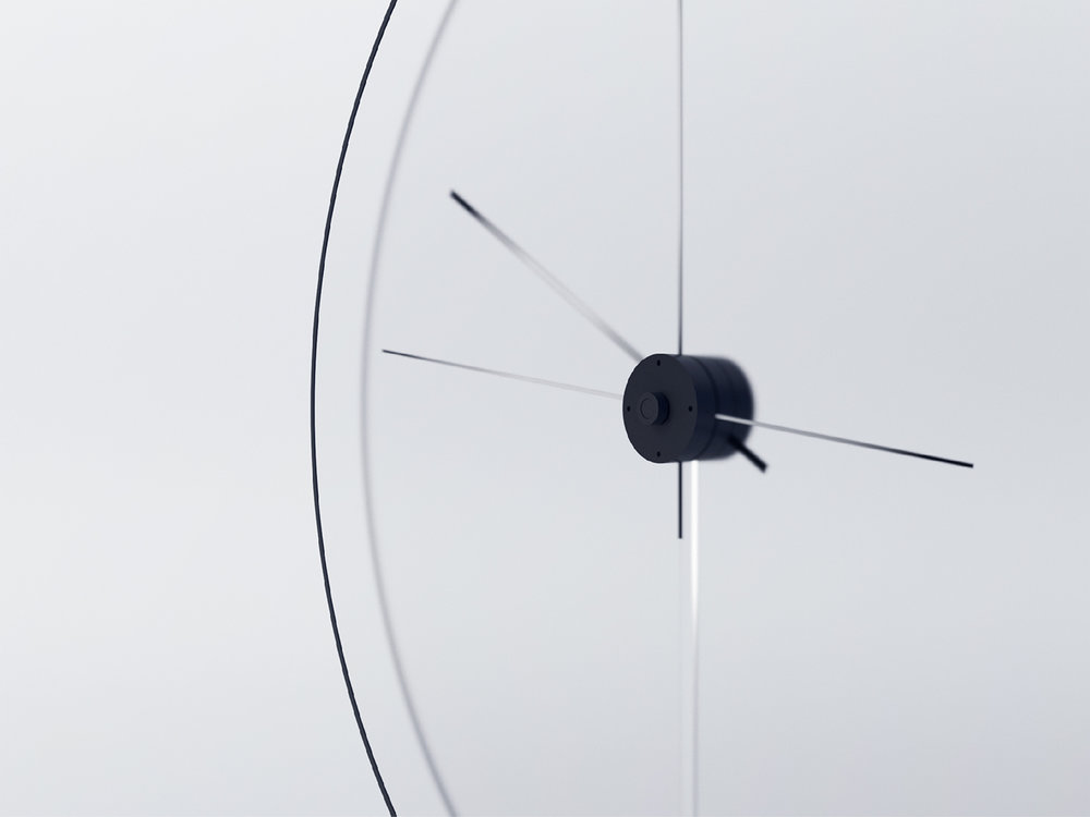 Close up detail of minimal product design clock by Yicong Lu