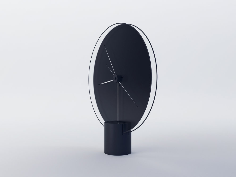 Side view of minimal clock design by product designer Yicong Lu