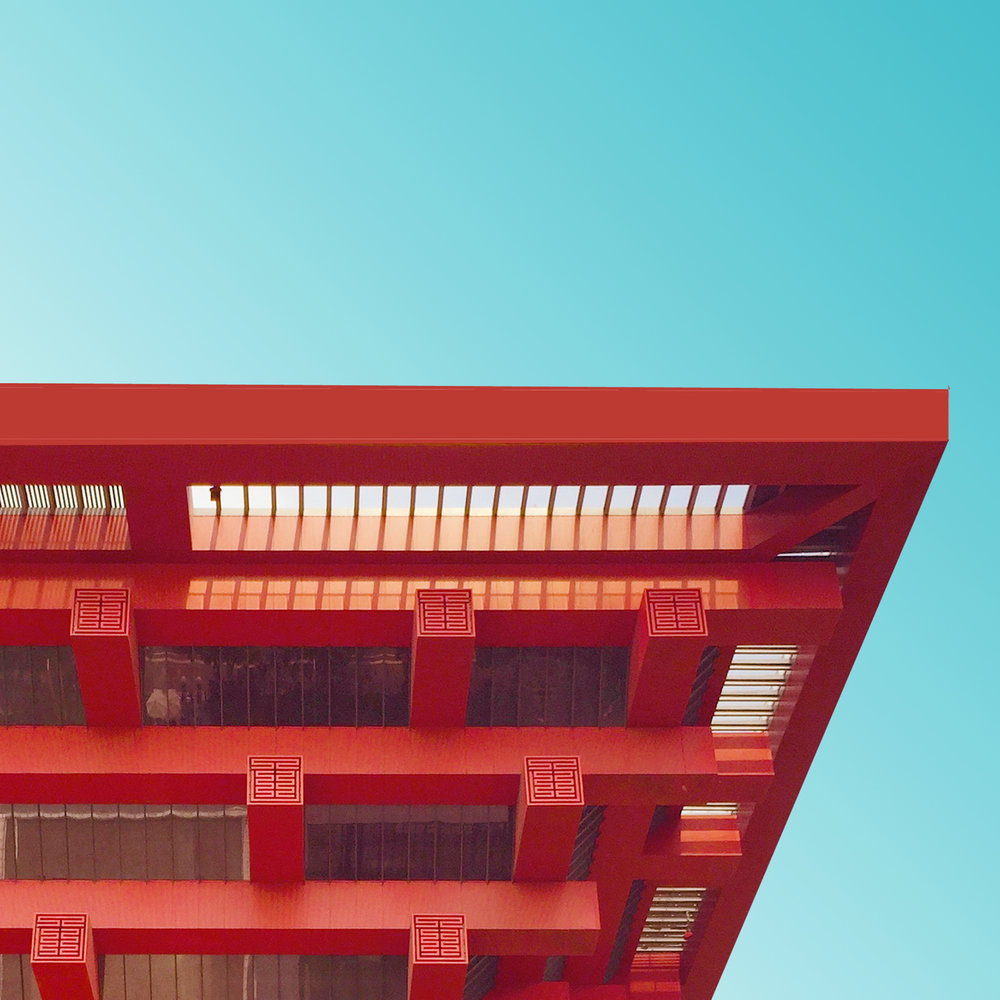 Detail of red Chinese building by Kris Provoost