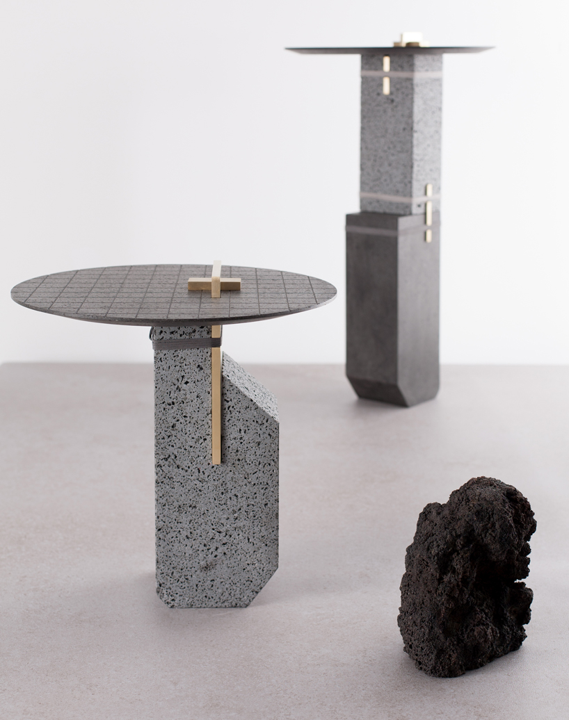 Coffee table design made of Lava rock by formafantasma