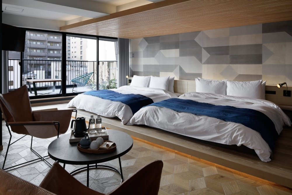 Large room with two double beds in Wired Hotel Tokyo