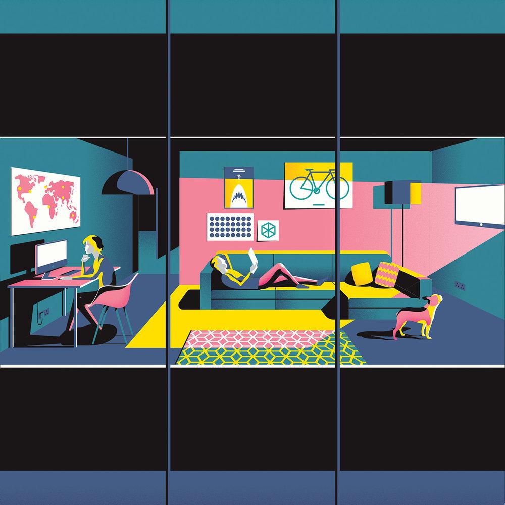 Jack Daly digital illustrations for Essential Living