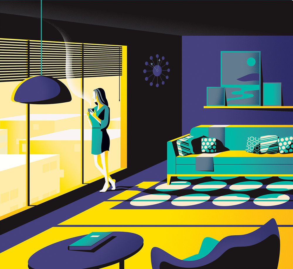 Jack Daly illustration of a woman in living room