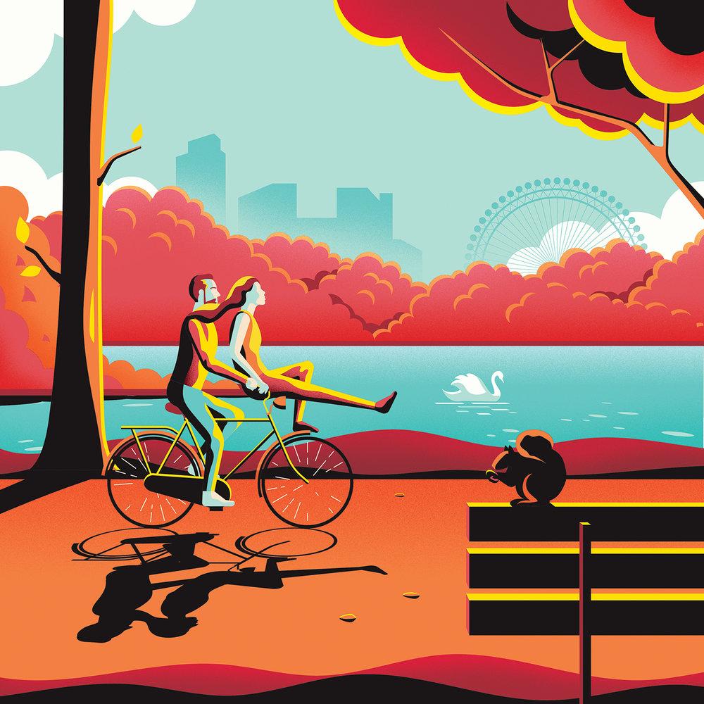 Pop art digital illustration of a park with a lake