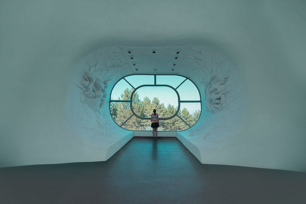 Futuristic interior with view on naure