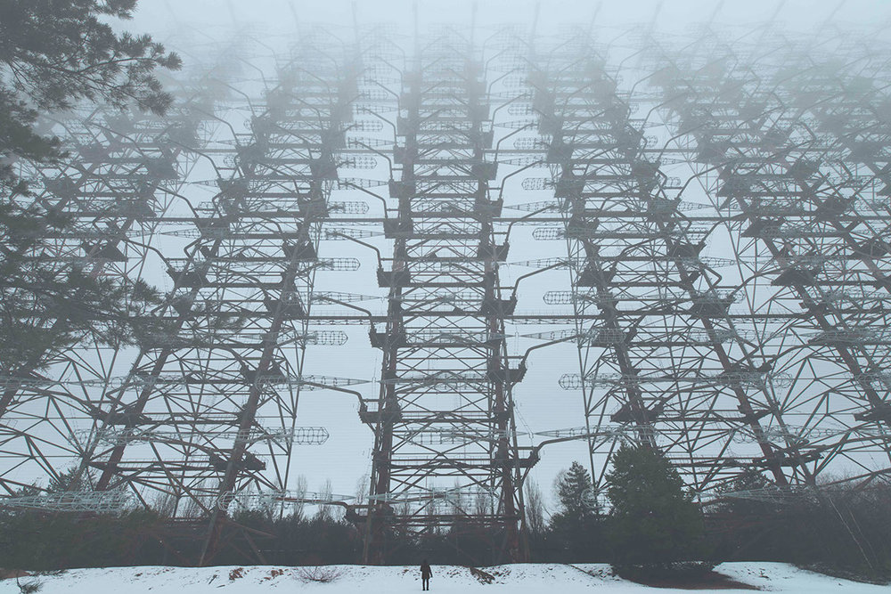 Gigantic electricity pylon in the snow