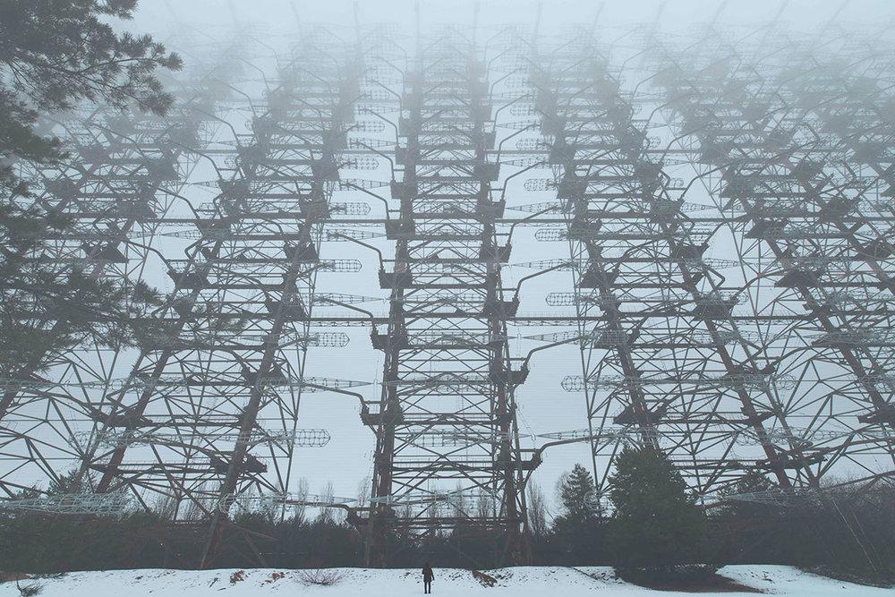 Gigantic electricity pylon in the snow