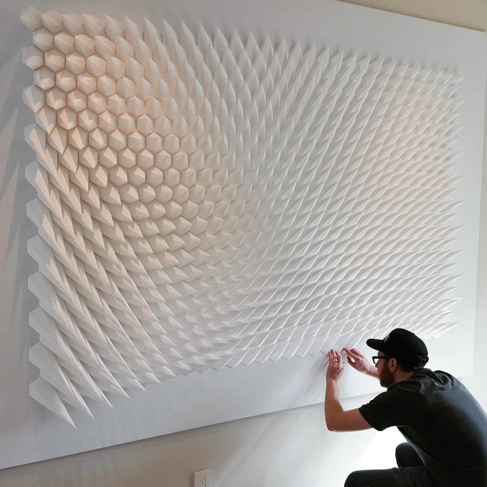 Matthew Shlian assembly large paper sculpture