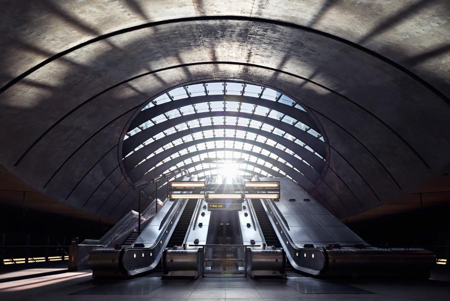 Escalators in subway stations