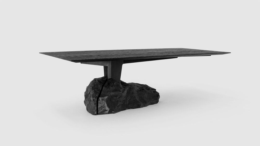 Counterweight formed of a large piece of black Orizaba marble stone