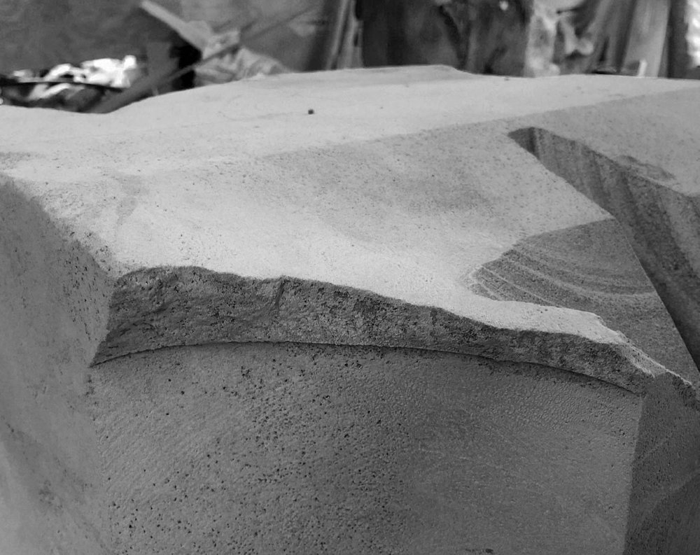 The marble base of Humo table in making