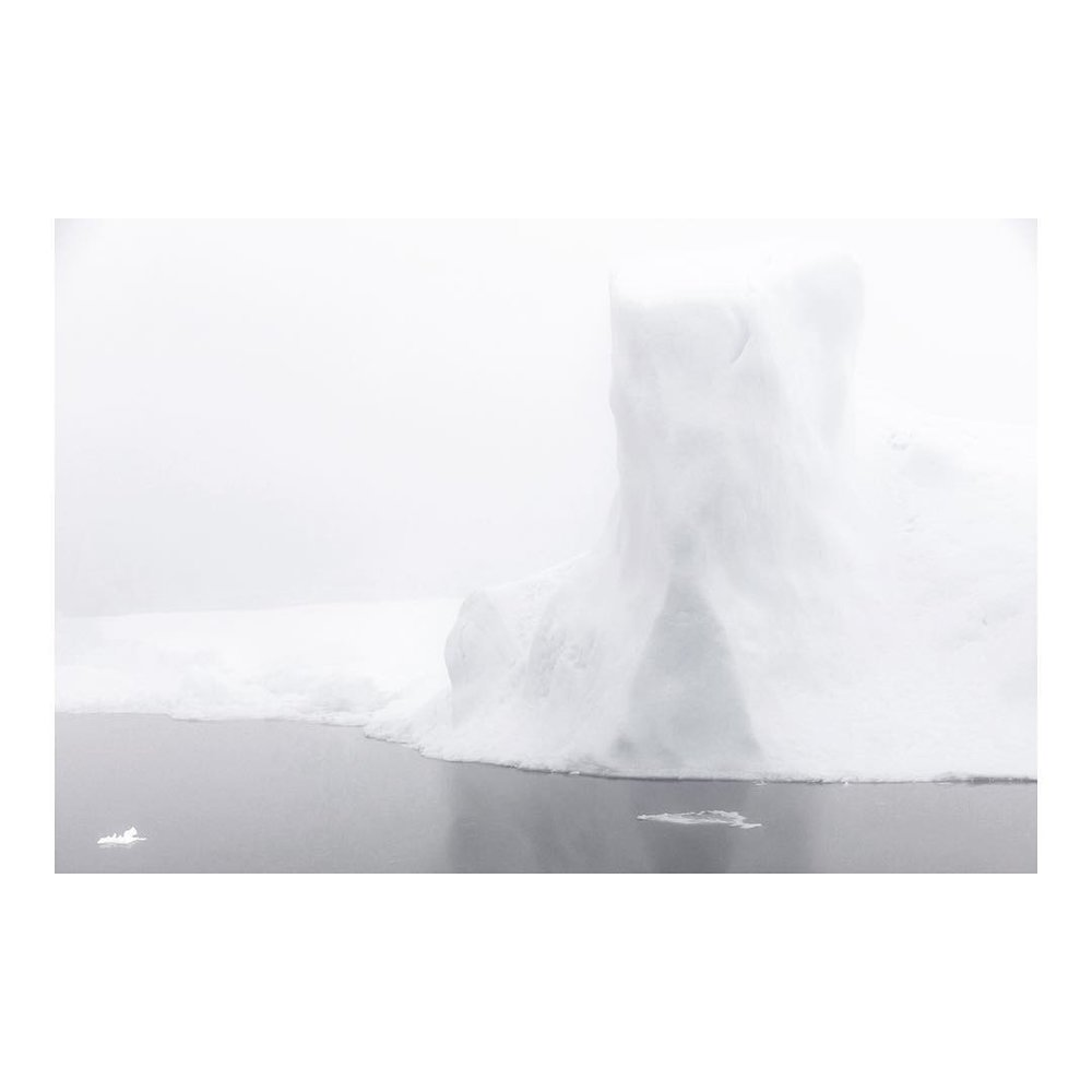 Foggy chunks of ice in black and white photography