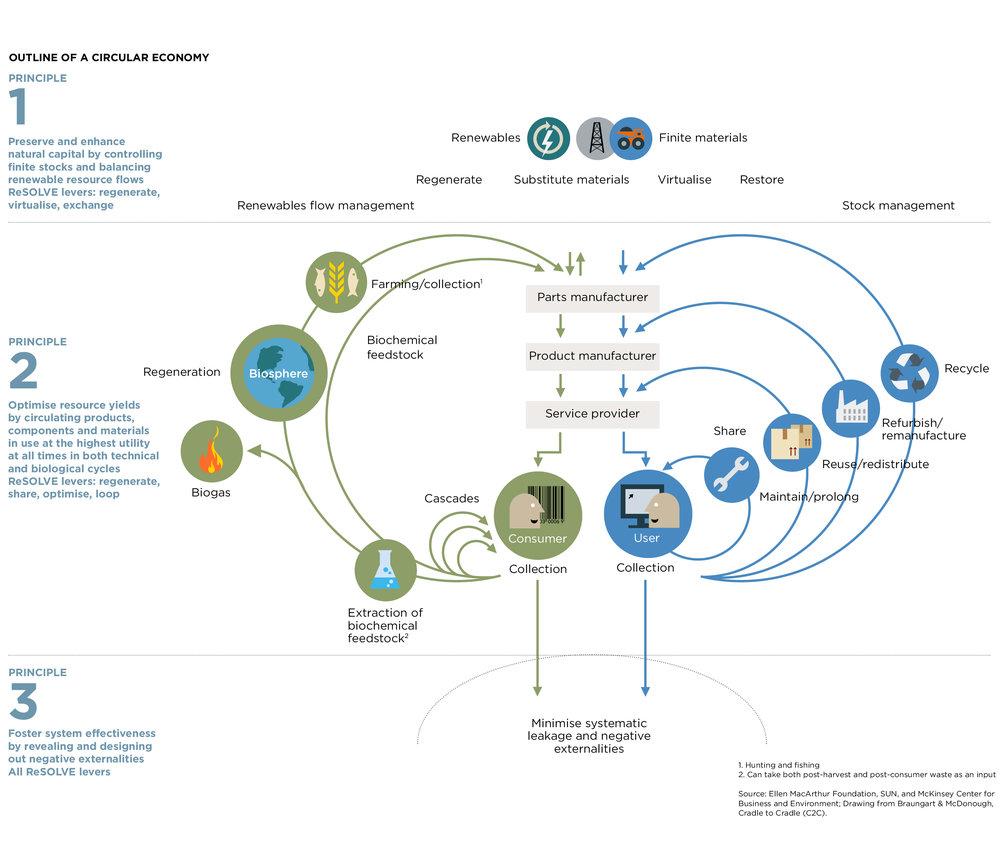 Diagrama del sistema de economía circular, Fundación Ellen MacArthur