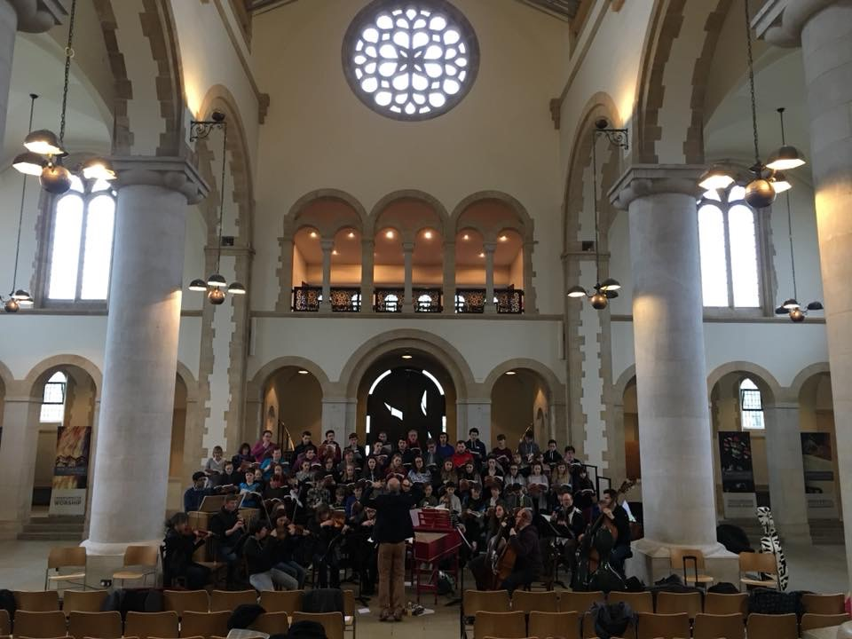 Rehearsals for the 'Messiah' concert with choir and orchestra