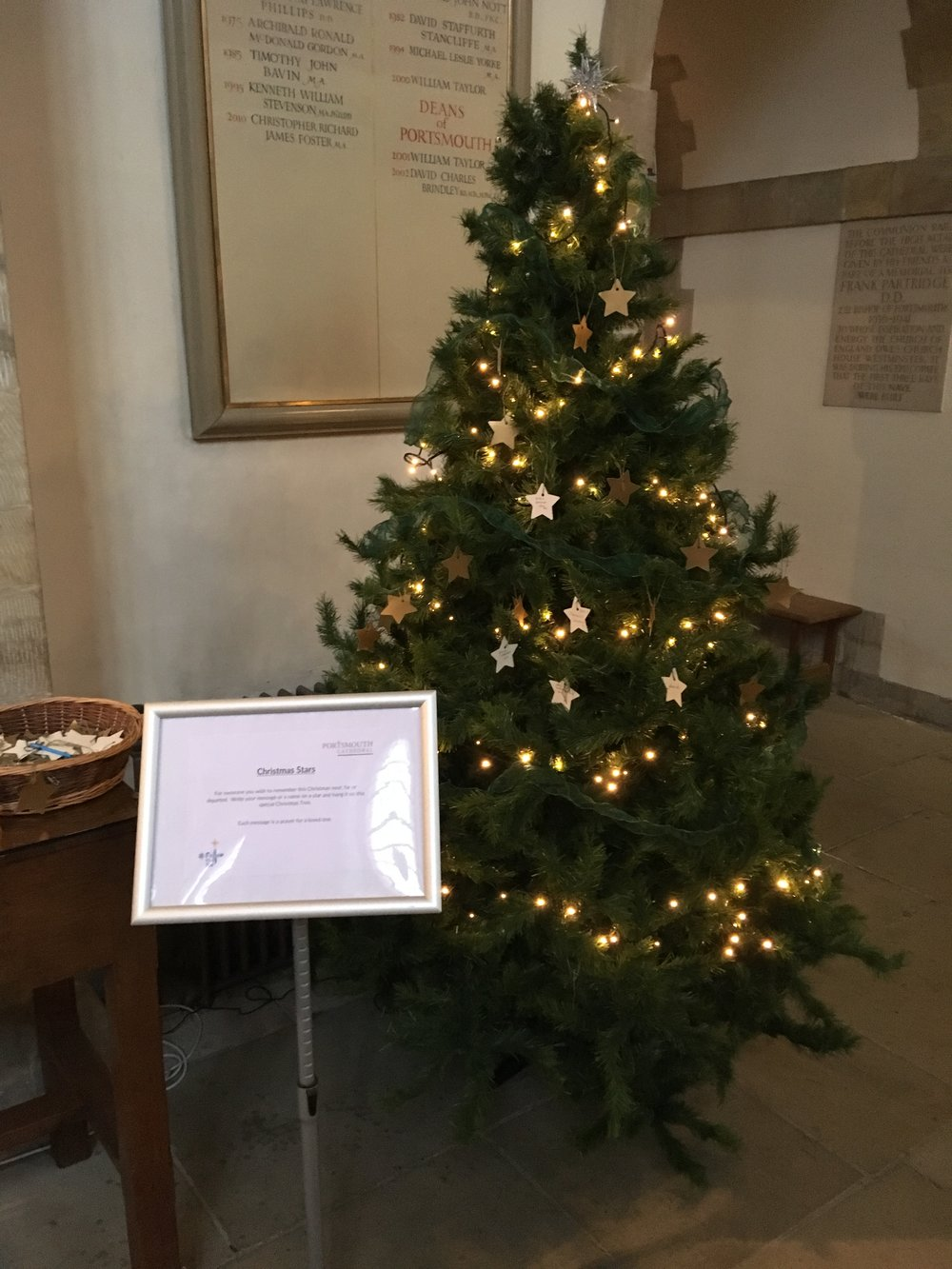 The 'Christmas Stars' tree in the crossing of Portsmouth Cathedral