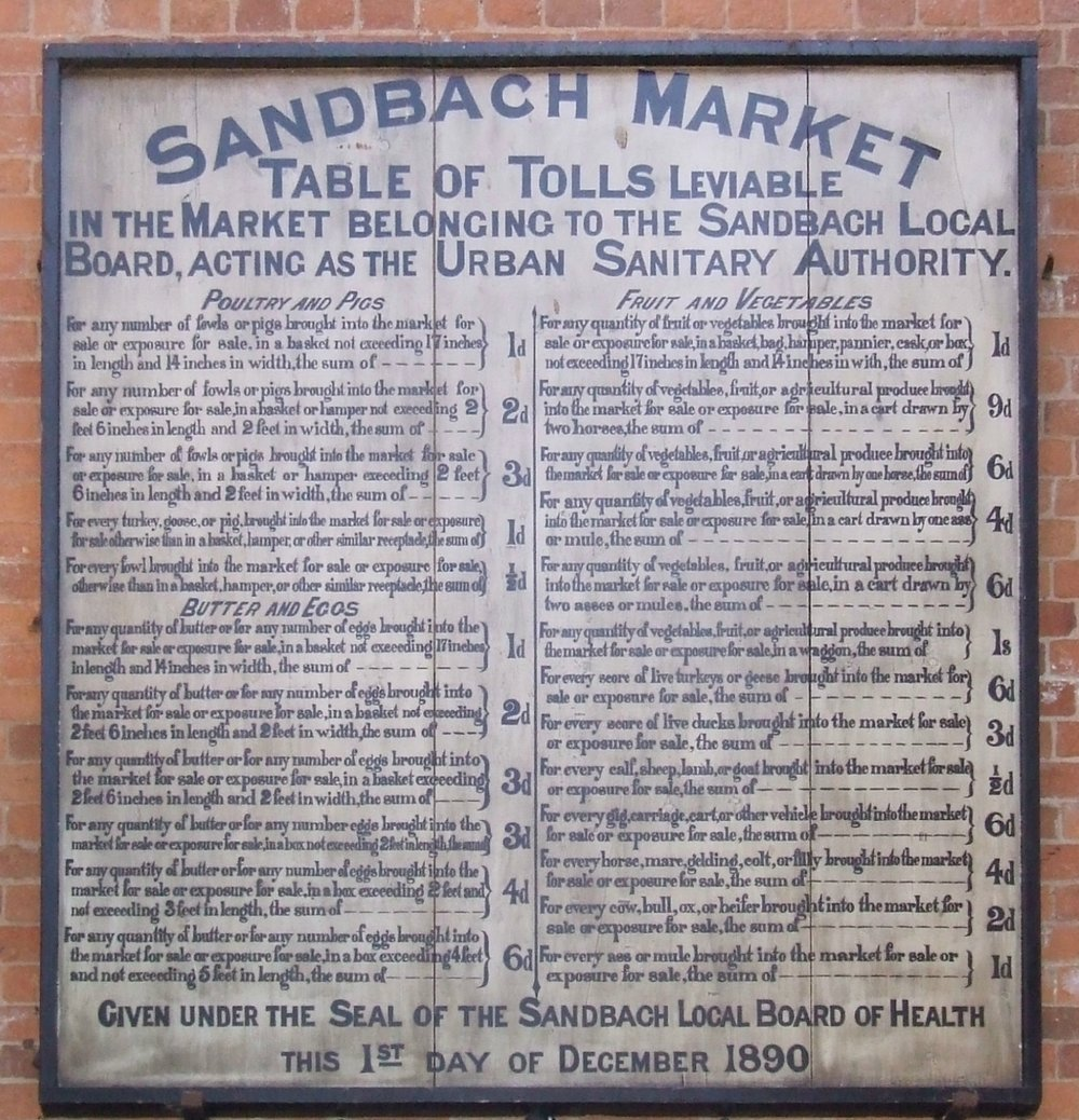 - Thursday Charter Market 8am-4pm Sandbach Town Centre and Market Hall  Friday Market9am-2pm Sandbach Market Hall Only Saturday Market  8am-4pm In and around the Market Hall