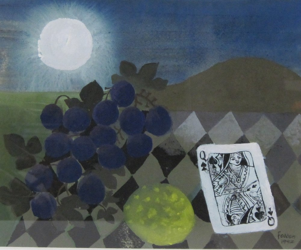 Mary Fedden ARA (1915-2012)  Moonlight (Queen of Spades)  1992, Jerwood Collection. © Mary Fedden. All Rights Reserved 2017/Bridgeman Images.