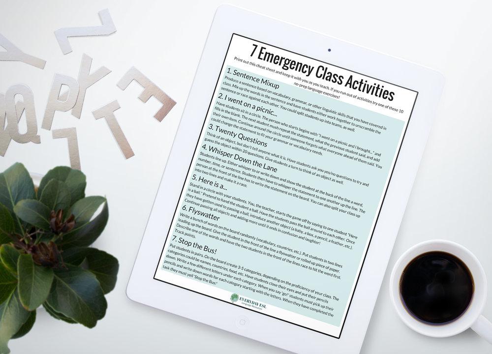 Free Emergency Class Activities | Adult ESL | ESL Activities