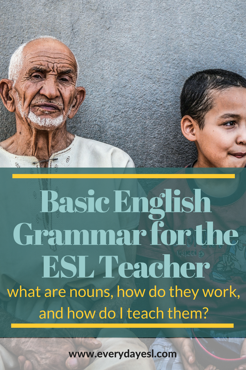 Basic English Grammar for the ESL Teacher: Noun Edition | Everyday ESL | Teaching Grammar | ESL Grammar | ESL Activities for Adults | Countable Nouns | Proper Nouns