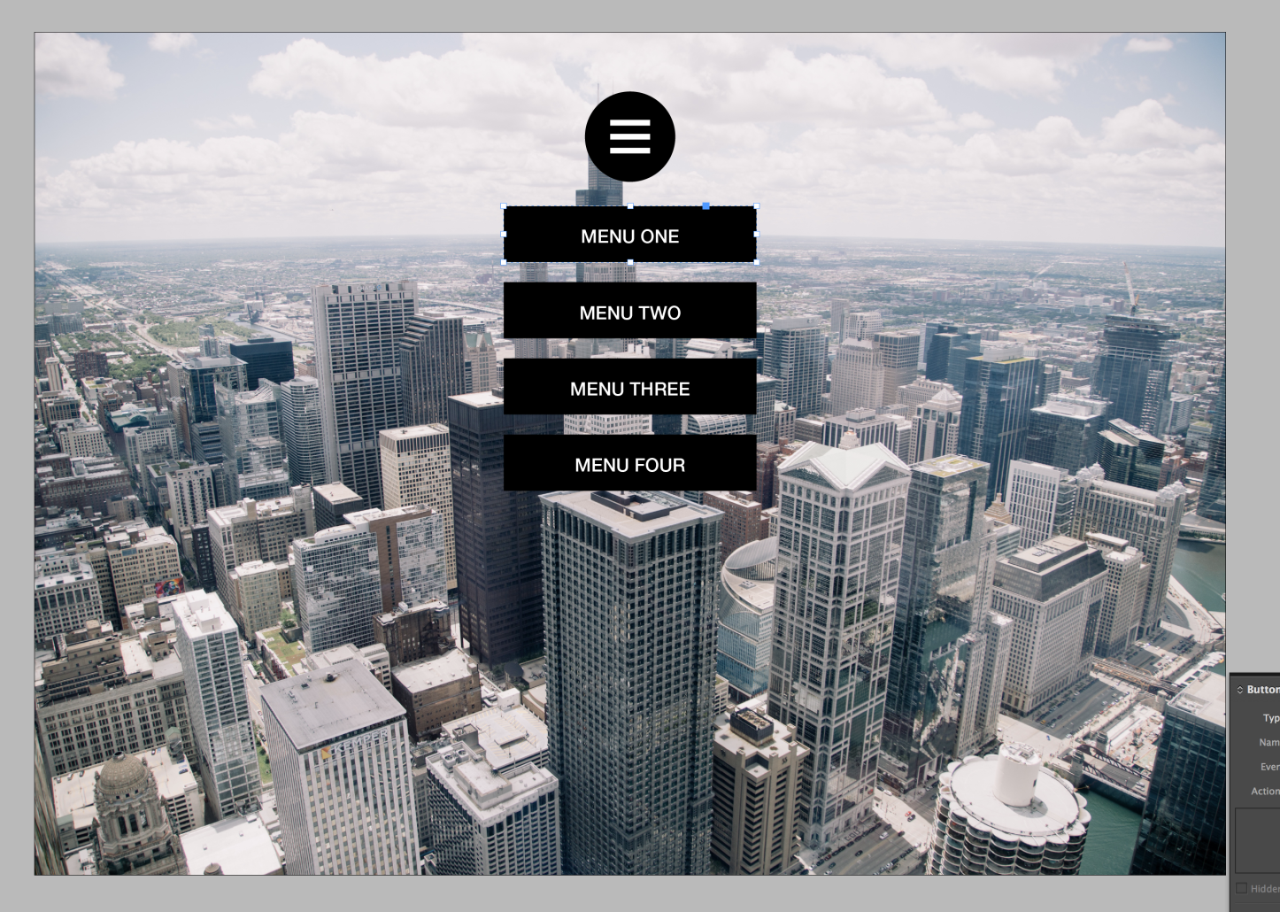 Create an interactive burger menu in a PDF with Adobe