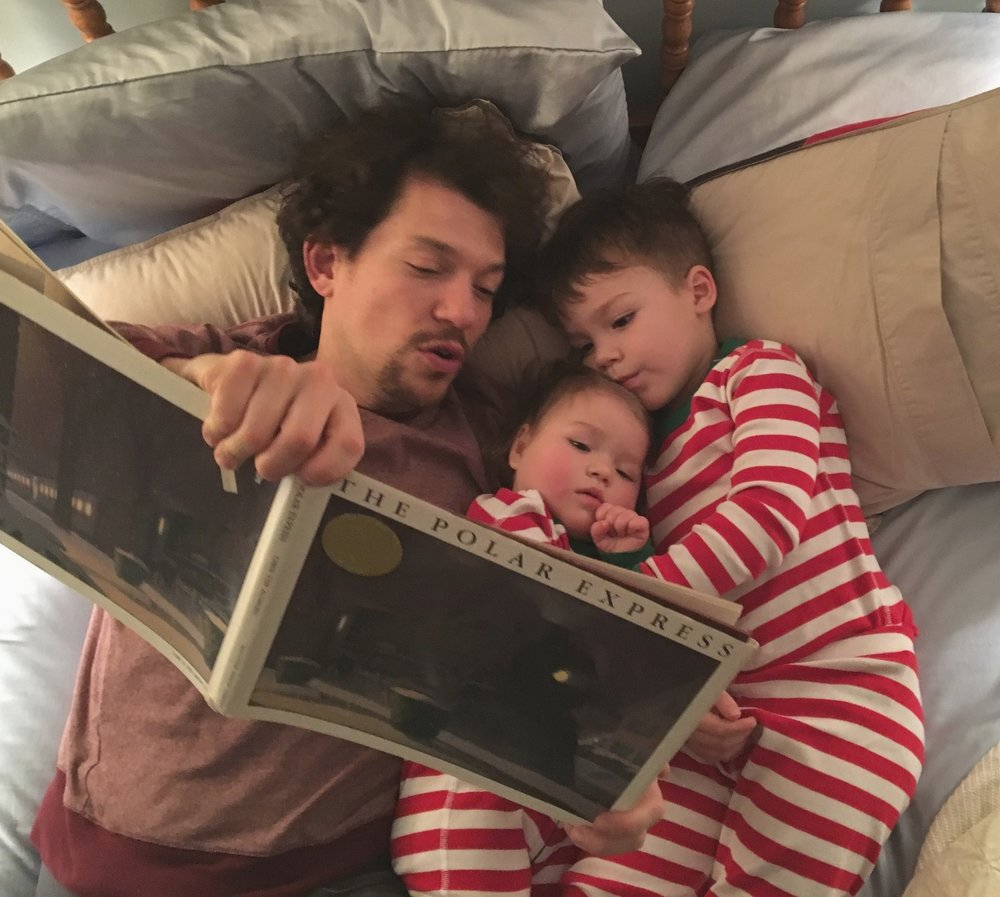 Reading with Daddy, Christmas Eve 2016