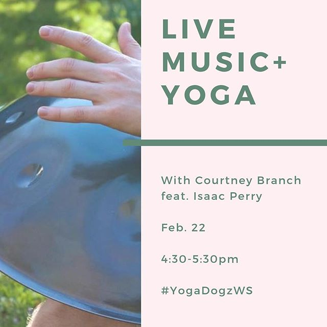 Another exciting Live Music + Yoga with Courtney tomorrow night featuring Isaac Perry.  Come enjoy some gentle Vinyasa  flow accompanied by the soothing sounds of the steel pan music. . . The class will end with a long guided savasana and meditation. . Friday, February 22nd 4:30 - 5:30 pm All levels Non-heated Students allowed to use class pass / Drop in's welcome / Donations for musician suggested❤️ Hope to see you there! . #yogadogzws #yogadogz #winstonsalemyoga #winstonsalemnc #wsnc #localwinstonsalem #hathayoga