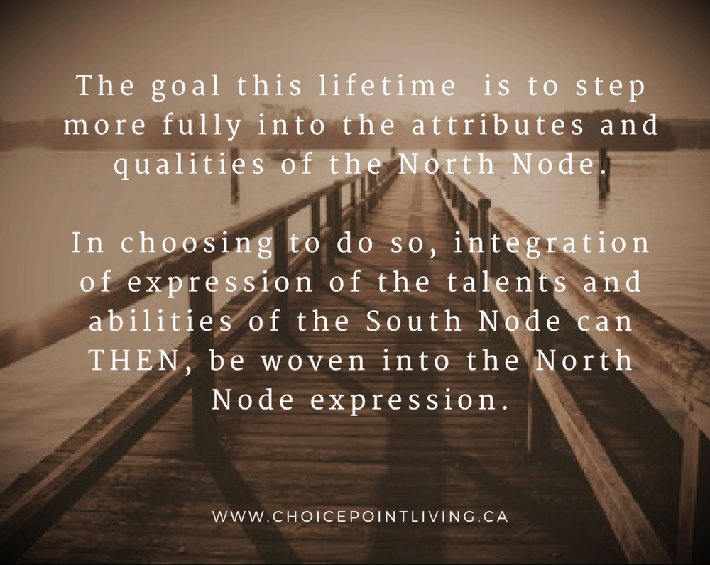 The goal this lifetime is to step more fully into the attributes and qualities of the North Node.In choosing to do so, integration of expression of the talents and abilities of the South Node can THEN, be woven into .png