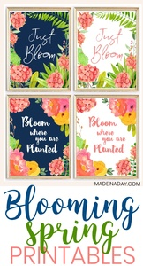 Navy Floral Blooming Spring Wall Art Printables from Made in a Day