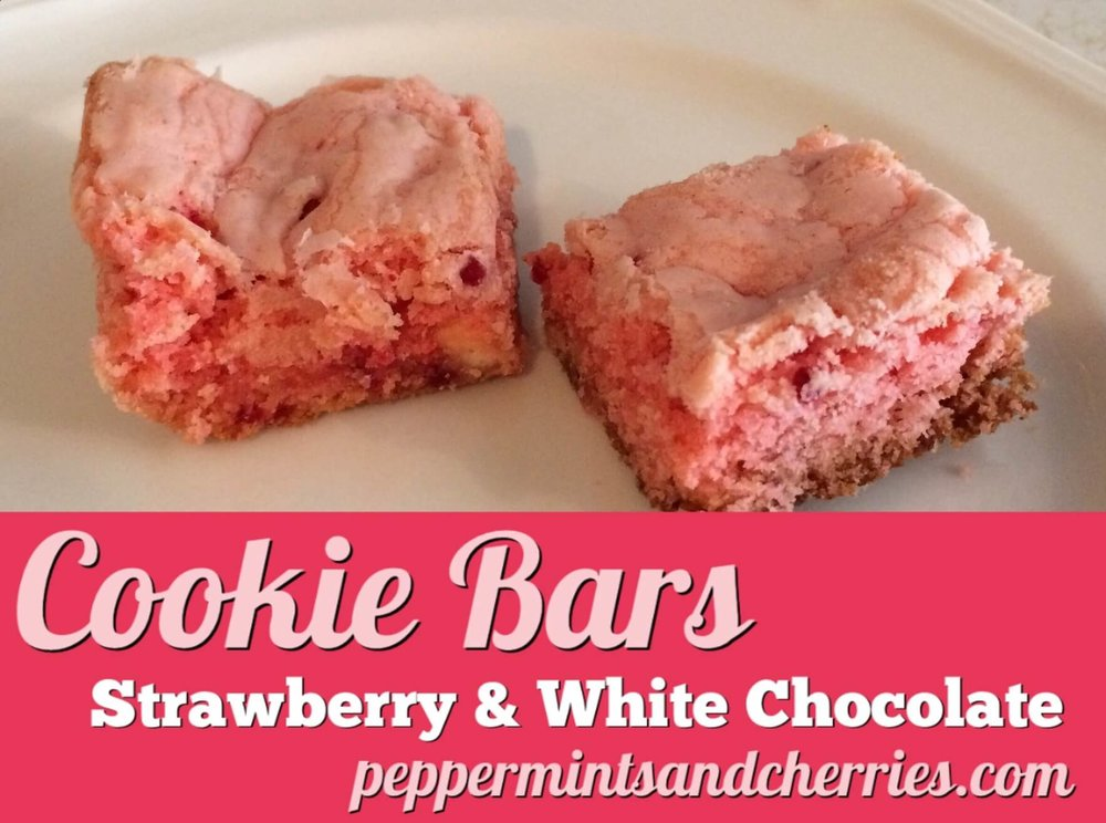 Strawberry Cookie Bars with White Chocolate