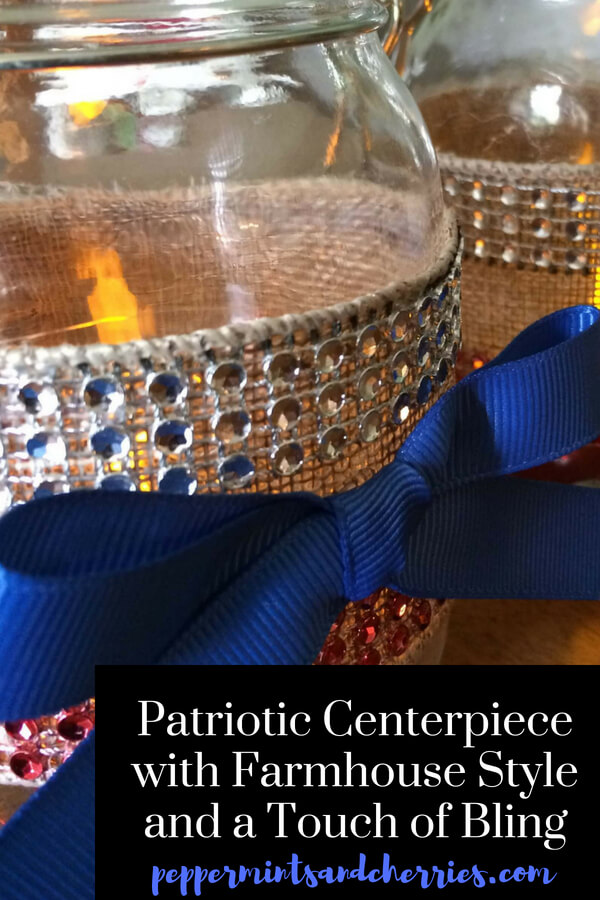 This red, white, and blue patriotic centerpiece with farmhouse style and a touch of bling will brighten your home for July 4th and all the patriotic holidays! #patriotic #farmhouse #farmhousestyle #farmhousedecor #freedom #homedecor #holiday #july4th #july #summer #memorialday