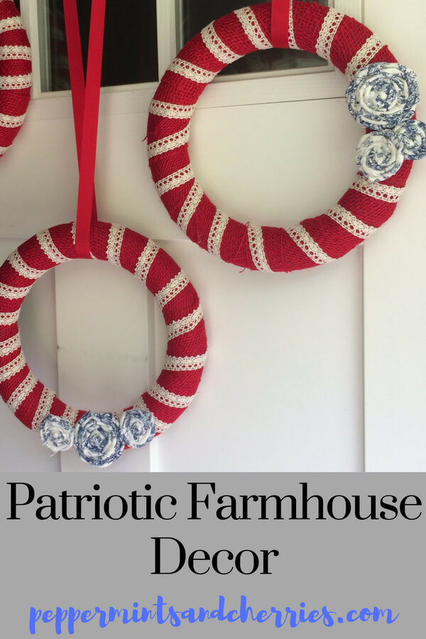 Red White and Blue Farmhouse Décor A Patriotic Wreath Tutorial Dollar Store Craft Challenge www.peppermintsandcherries.com