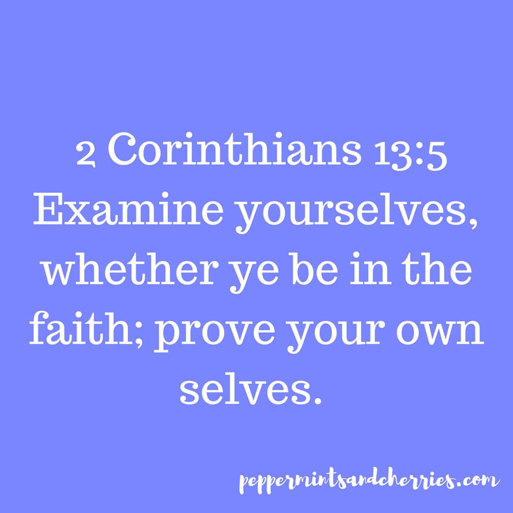 2 Corinthians 13:5 says,  Examine  yourselves, whether ye be in the faith; prove your own selves.