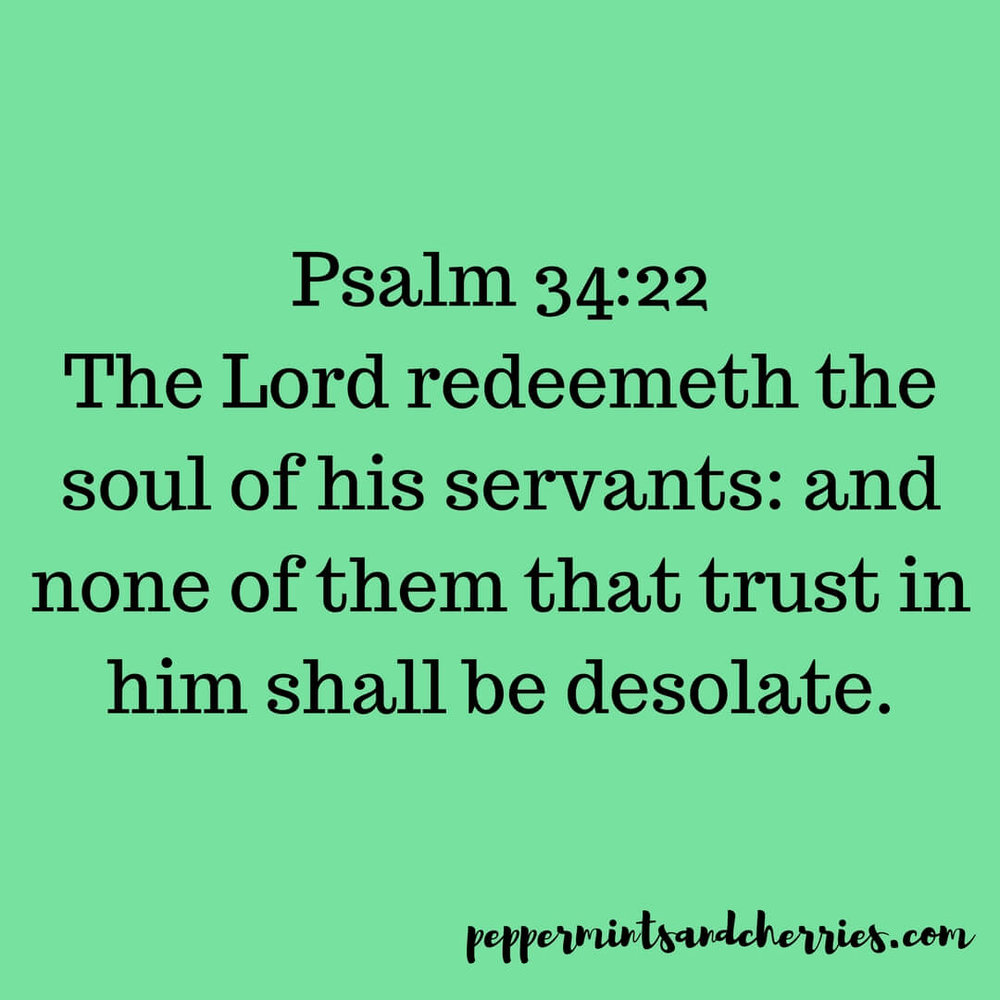 One of my favorite Bible verses is Psalm 34:22.  The  Lord  redeemeth   the   soul   of   his   servants : and none  of   the m that trust in him shall be desolate.