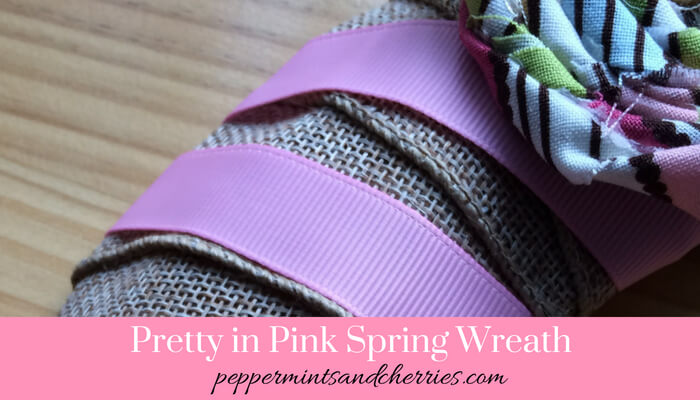 Pretty in Pink Spring Wreath Dollar Store Craft Challenge www.peppermintsandcherries.com