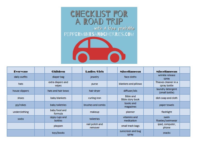 Free Printable Checklist for a Road Trip