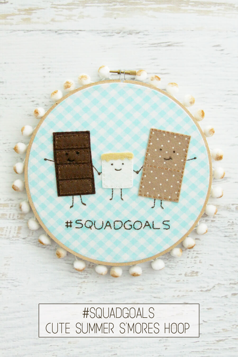 Cute Summer S'mores Embroidery Hoop Art from Flamingo Toes
