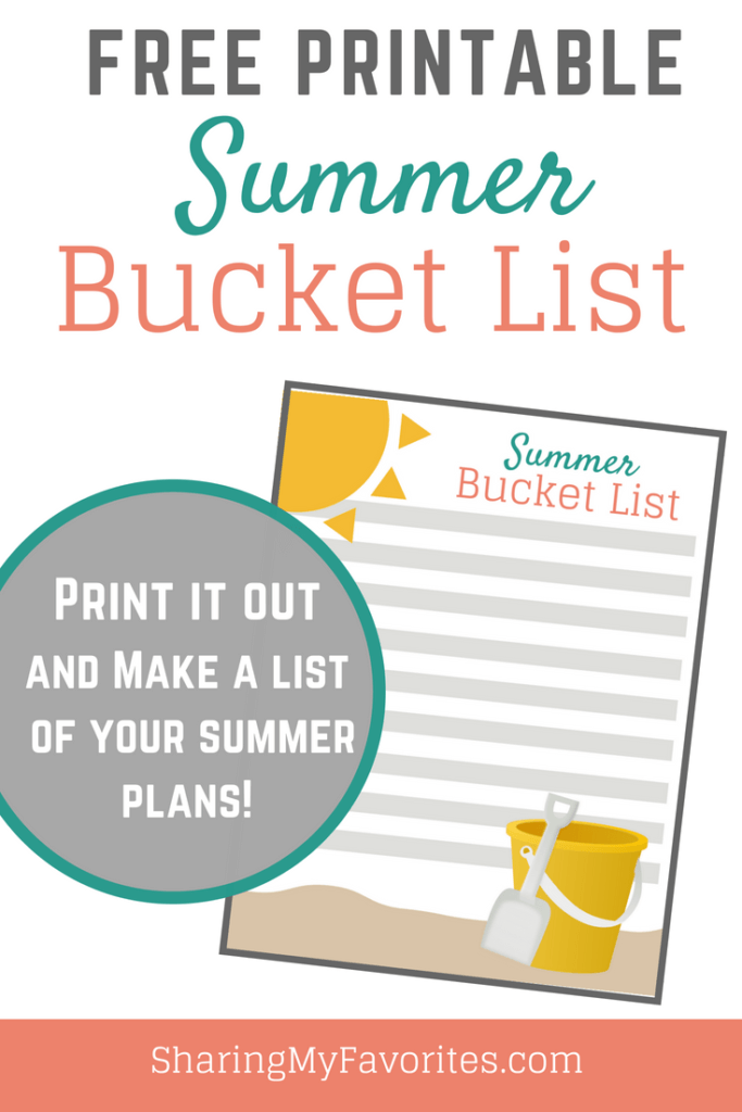 Free Printable: Summer Bucket List from Sharing My Favorites (Helping Women Balance Family, Home, and Work)