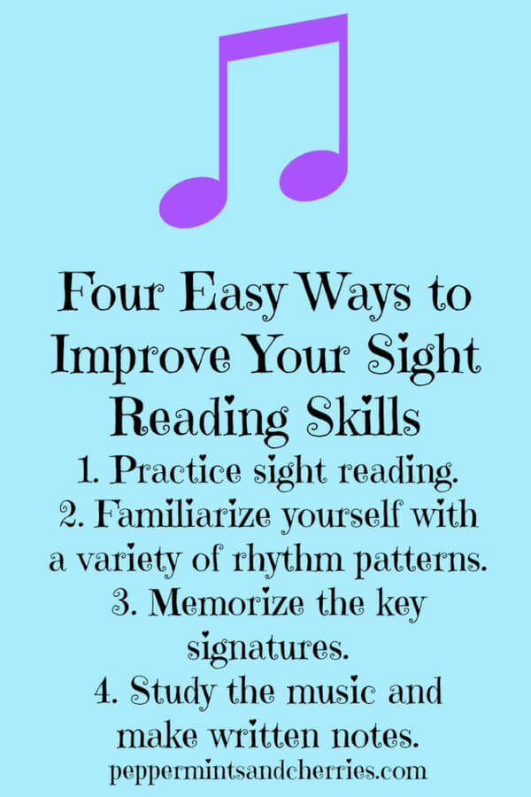 Music Education and Four Easy Ways to Improve Your Sight Reading Skills www.peppermintsandcherries.com