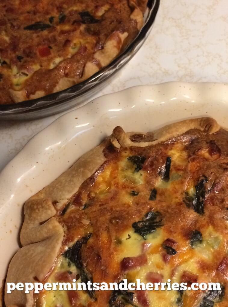 Ham and Veggie Quiche Recipe with Spinach