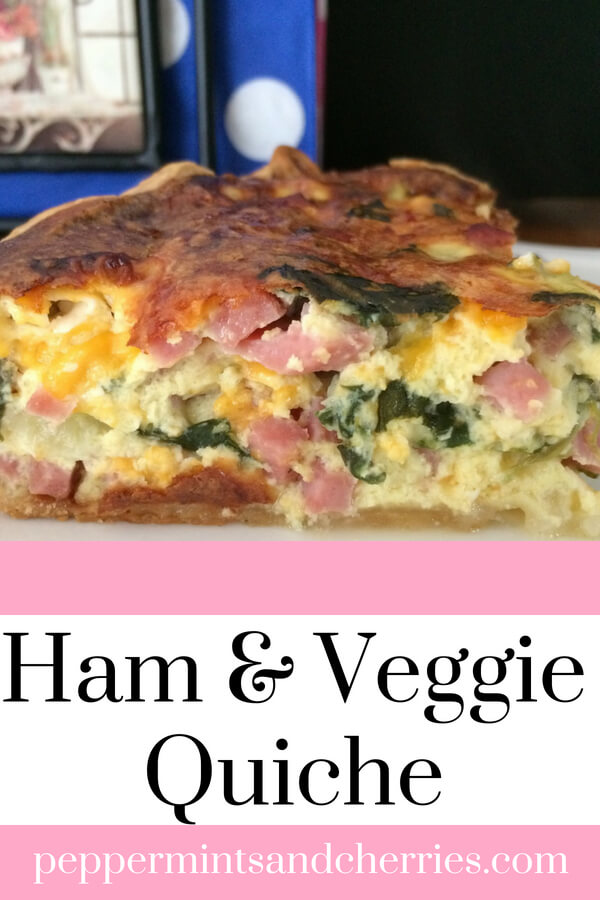 This ham and veggie quiche recipe is a sure hit at breakfast, lunch, supper, or anytime between! It makes two pies or one large quiche, so it's perfect for larger families or families with big appetites! Best of all, a serving of ham and veggie quiche is only nine points on the Weight Watchers® Freestyle Program. #quiche #recipeoftheday #spinach #veggielove