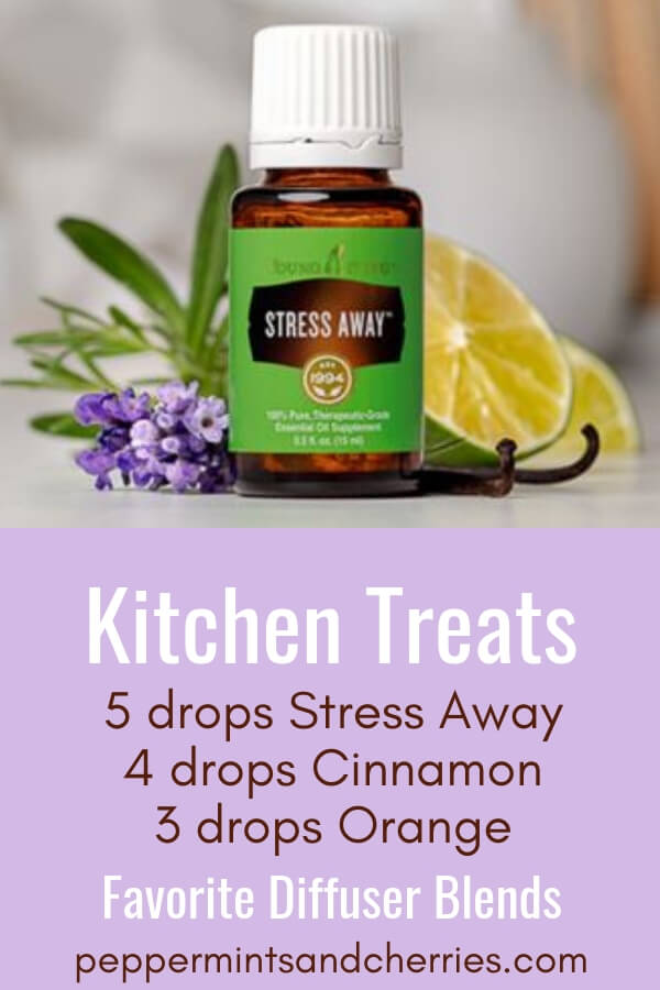 Favorite Diffuser Blends; Kitchen Treats made with Stress Away, Cinnamon, Orange Essential Oils by Young Living #youngliving #younglivingessentialoils #younglivingaffiliate #diffuserblends #diffuserrecipes #essentialoilblends #essentialoilsrecipes #essentialoilblendsfordiffuser #diffuser