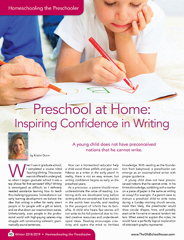 Published in The Old Schoolhouse Magazine  -  Preschool at Home: Inspiring Confidence in Writing