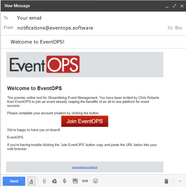 When you're all set up, you'll see this email in your inbox. Please add notifications@eventops.software to your safe senders list.