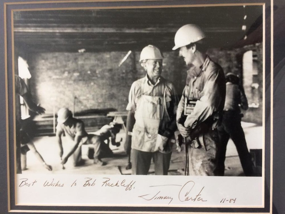 Bob, at right, and President Jimmy Carter at Habitat for Humanity work site in 1984.