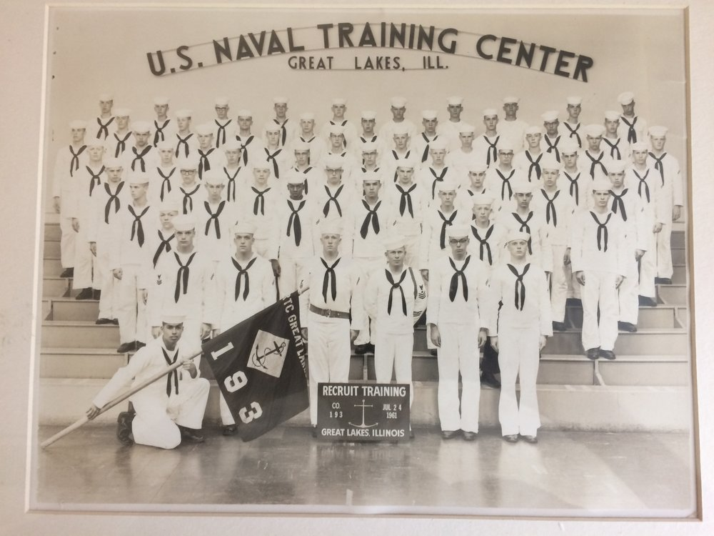 Above: Bob's Naval Recruit Training Class, pictured in 1961.