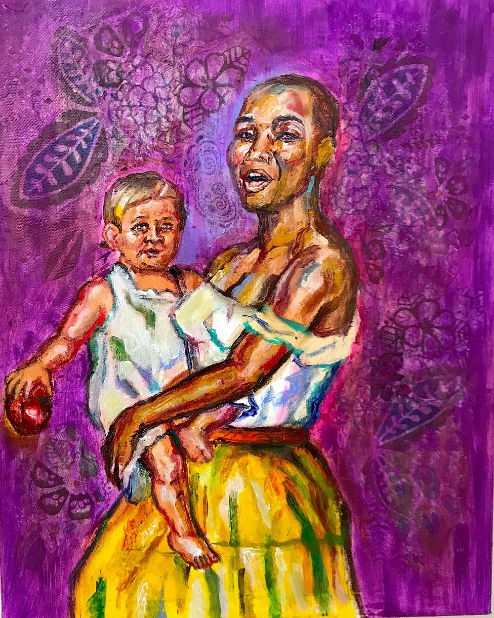 """Woman with Child or Composition in Yellow and Purple"", 2018"