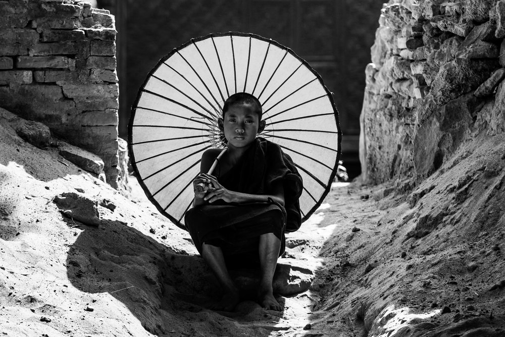 NOVICE MONK, 2018 - MyanmarPhotograph on BW Ilford Pearl Finish with UV Protected Matte, on Anodized Aluminum50.8cm x 76.2cm(20in x 30in)