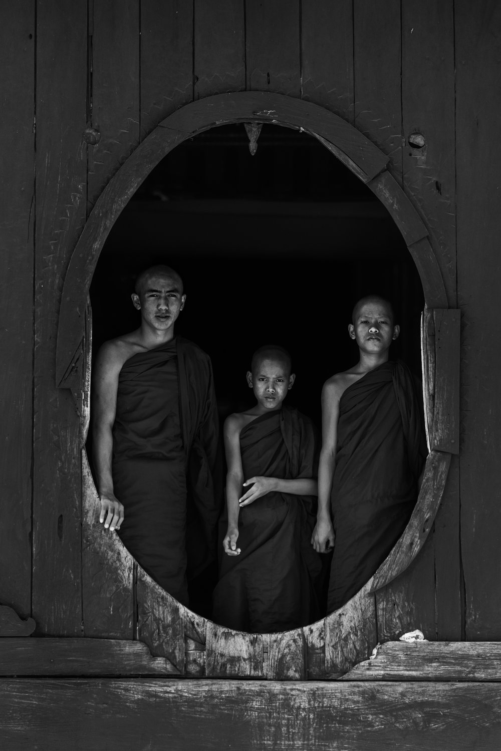 SANGHA, 2018 - MyanmarPhotograph on BW Ilford Pearl Finish with UV Protected Matte, on Anodized Aluminum50.8cm x 76.2cm(20in x 30in)