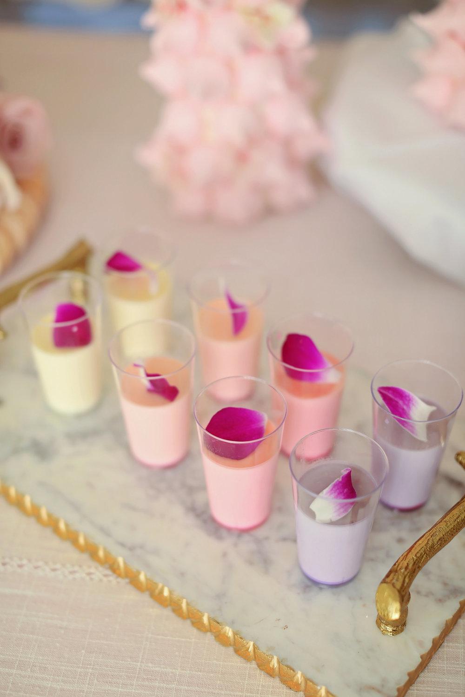 Mouse Shots - Blush wedding dessert buffet